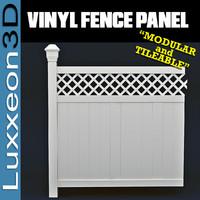 3d modular vinyl fence panel model