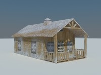 3d model cottage house covered snow
