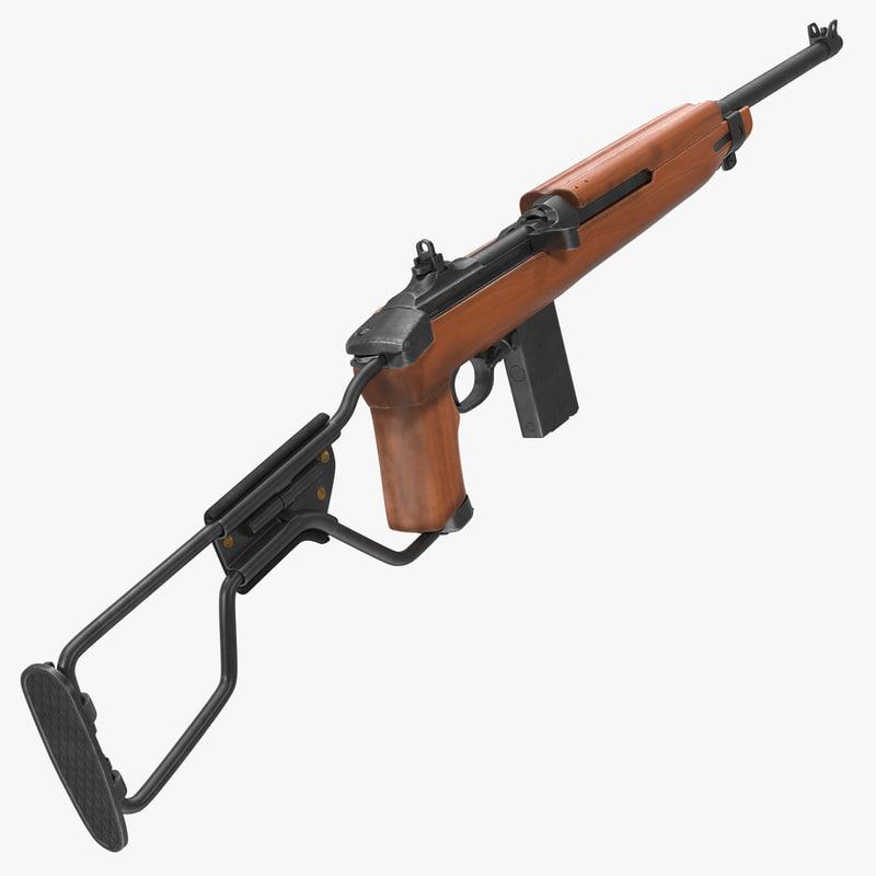 carbine m1a1 folding stock 3d max