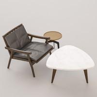 3d model chair tables set