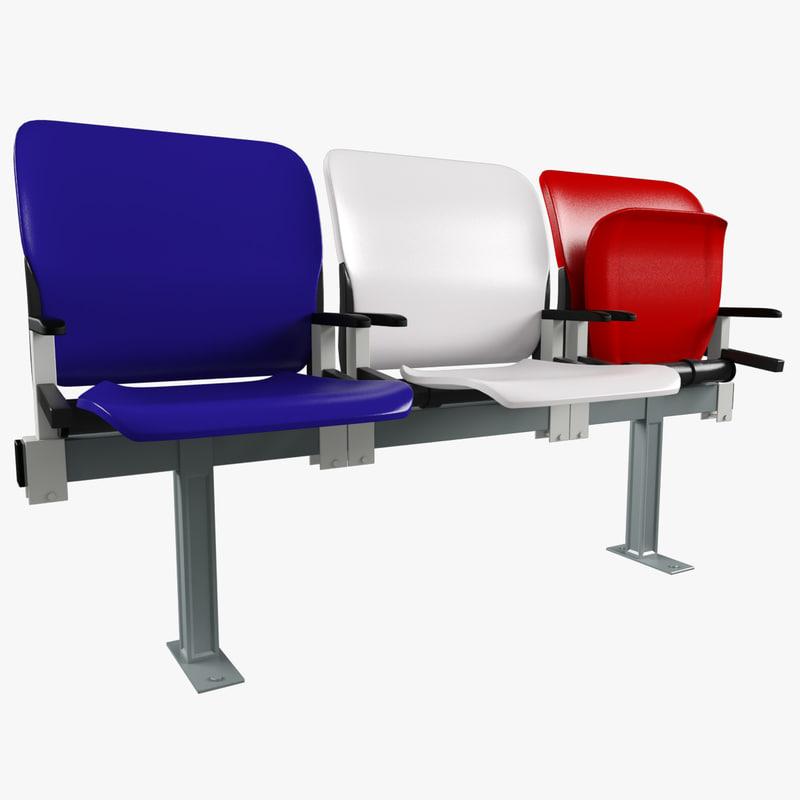 stadium seat plastic chair 3d model