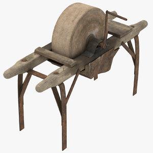 3d obj blacksmiths grinding stone