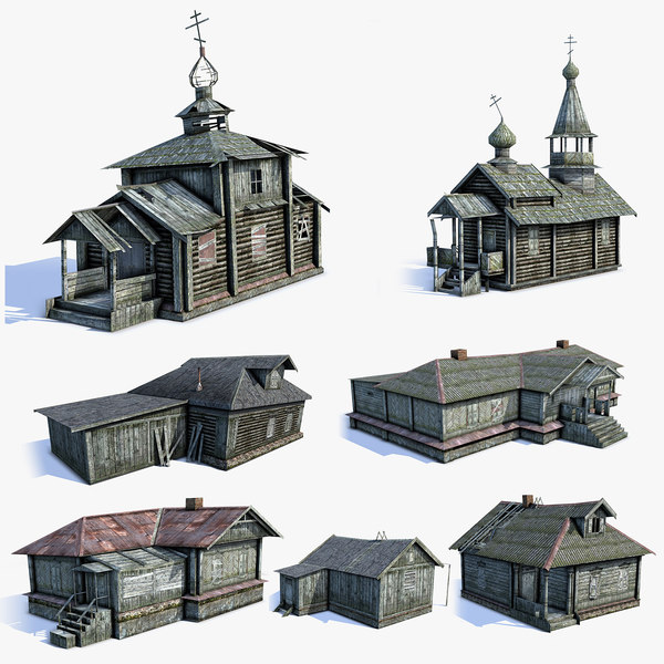 set russian village 3d model
