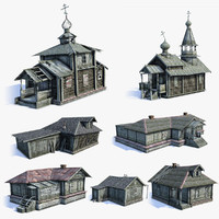 3d set russian village wooden houses