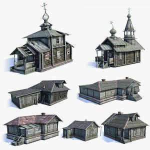 3d set russian village wooden houses