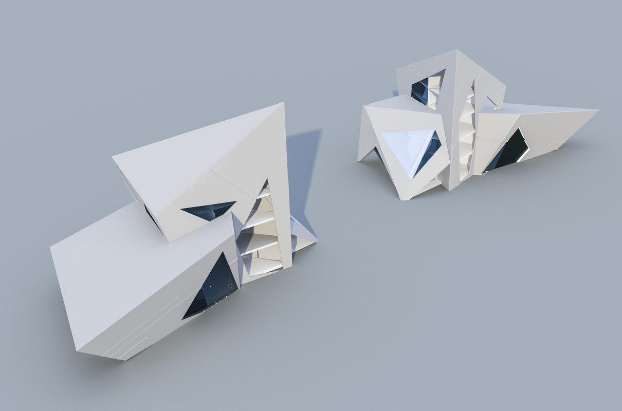 3d conceptual buildings glaciers model
