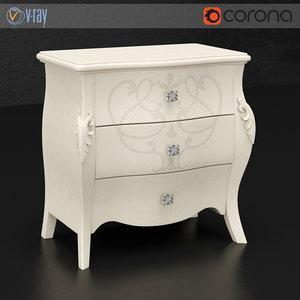 3d model bedside table diva