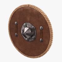 3d medieval leather shield