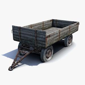 low-poly russian village cart 3d model