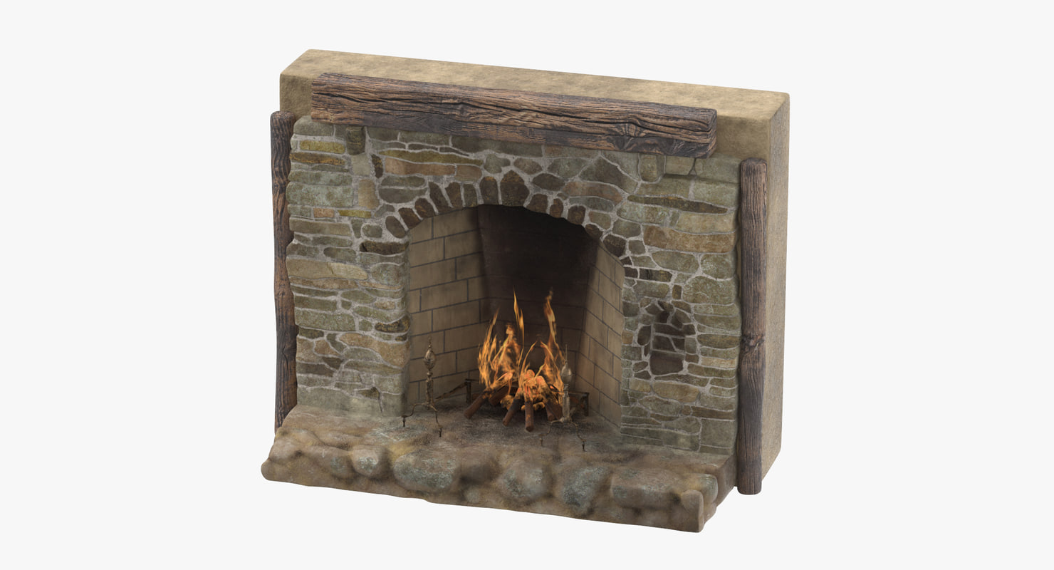 3d model medieval fireplace