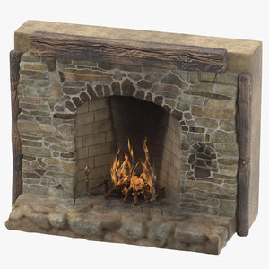 3d model medieval fireplace