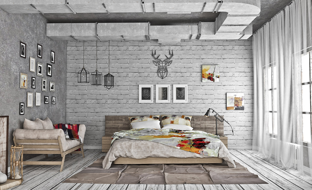 3d model bedroom loft