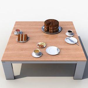 3d model set coffee table