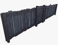 wooden fence door 3d 3ds
