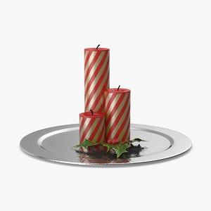 3d max christmas candle 01 red