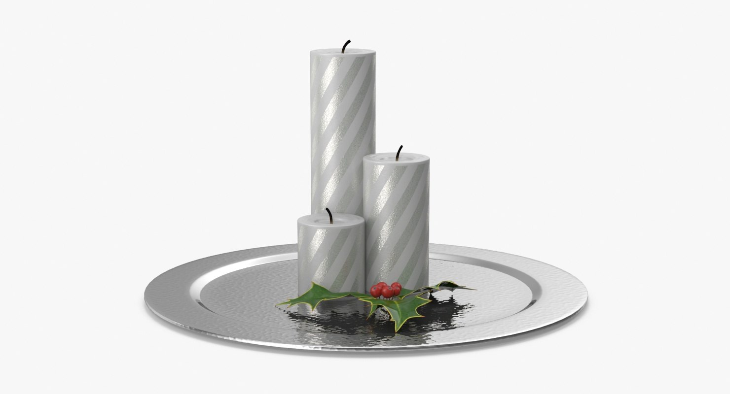 3d christmas candle 01 white model
