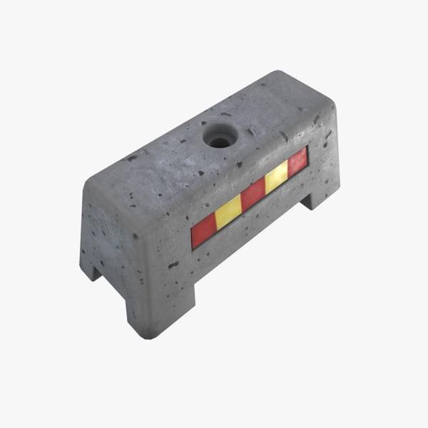 3d model concrete barrier