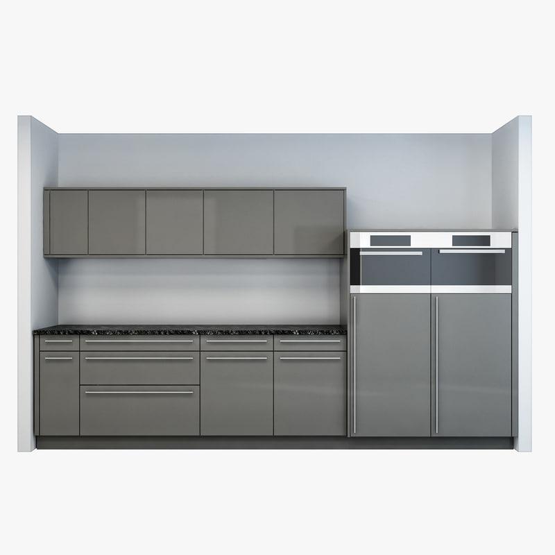 3d model kitchen wall
