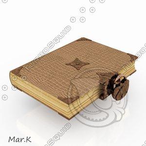 3d model lock old book