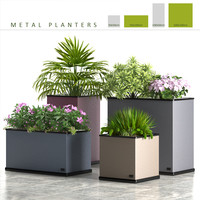 3d box plants metal model