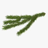 3d christmas fir branch 3
