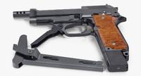 pistol beretta 93r buttstock 3d 3ds