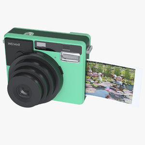3d photoreal instant camera model