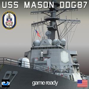 uss mason ddg-87 dd 3d max