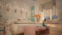 3d model of room bedroom modern