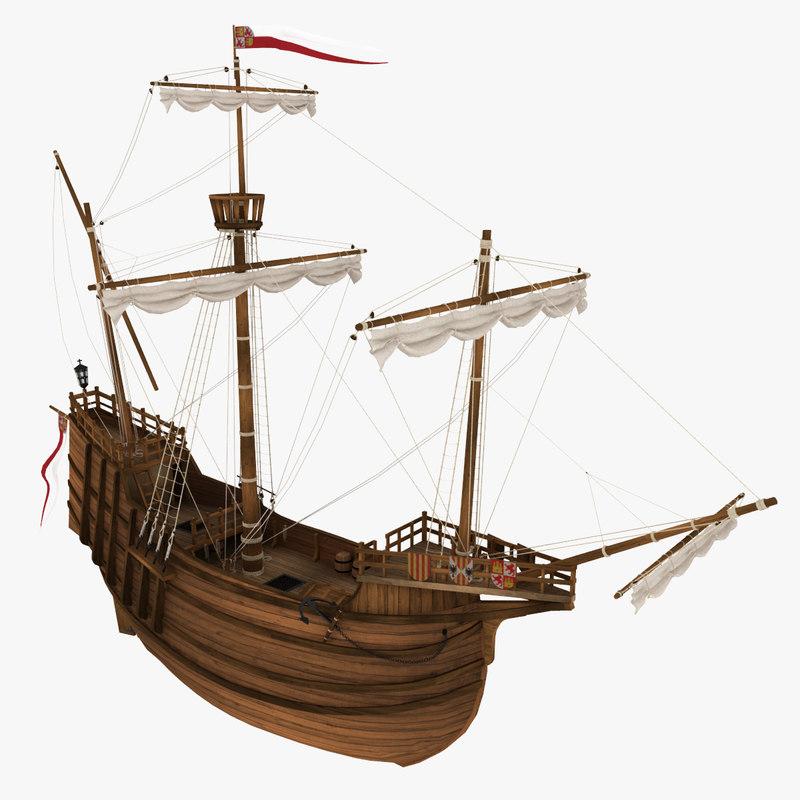 3d model boat nao santa mara