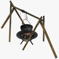 3d medieval cauldron