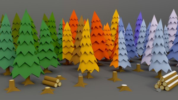 3d obj stylized tree pack