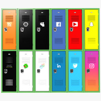 3d school lockers social networks model