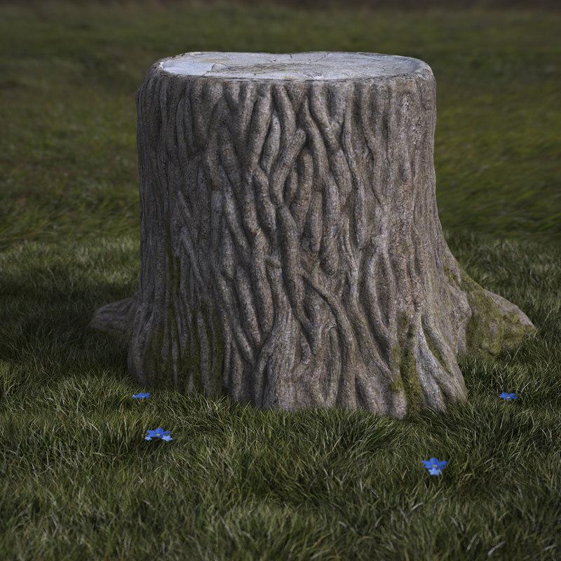 3d model realistic stump