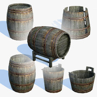 low-poly old wooden barrels 3d max