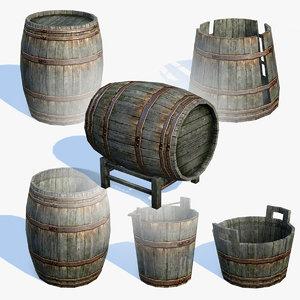 low-poly old wooden barrels 3d max