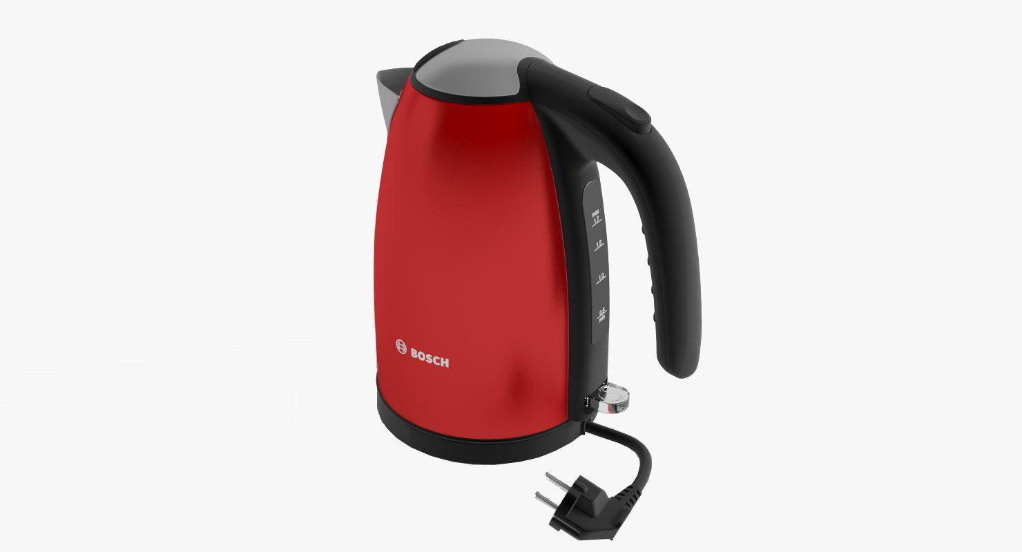 3d model of red bosch kettle