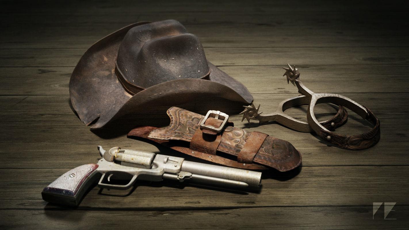 wild west cowboy gear obj