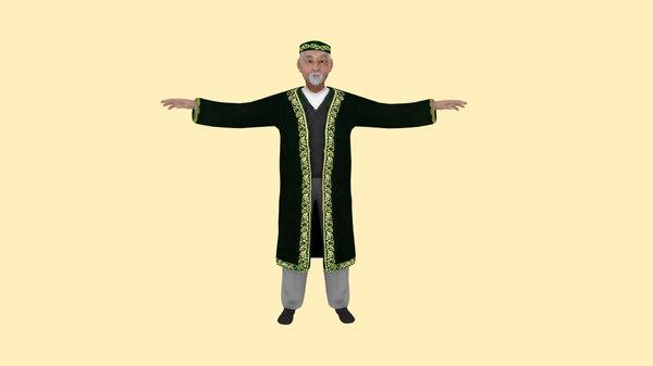 asian nomad old man obj