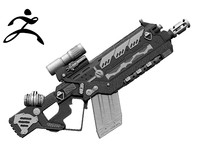 sci-fi weapon zbrush ztl obj