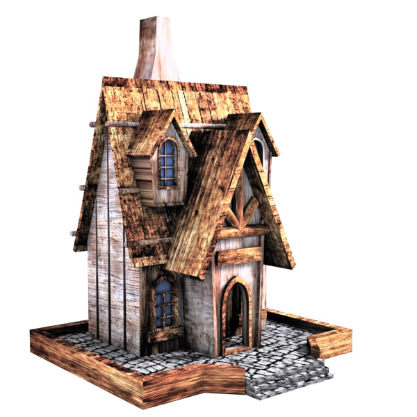 3d model of bird house cartoon