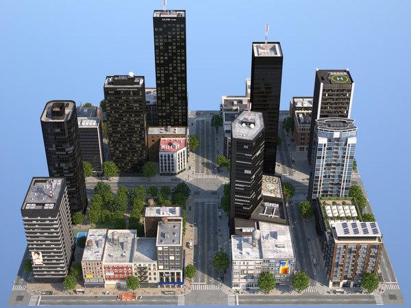 dunkel city buildings 3d model