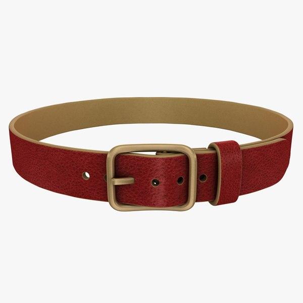 3d model realistic belt 2 red