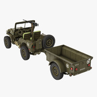 willys jeep 44 trailer 3ds