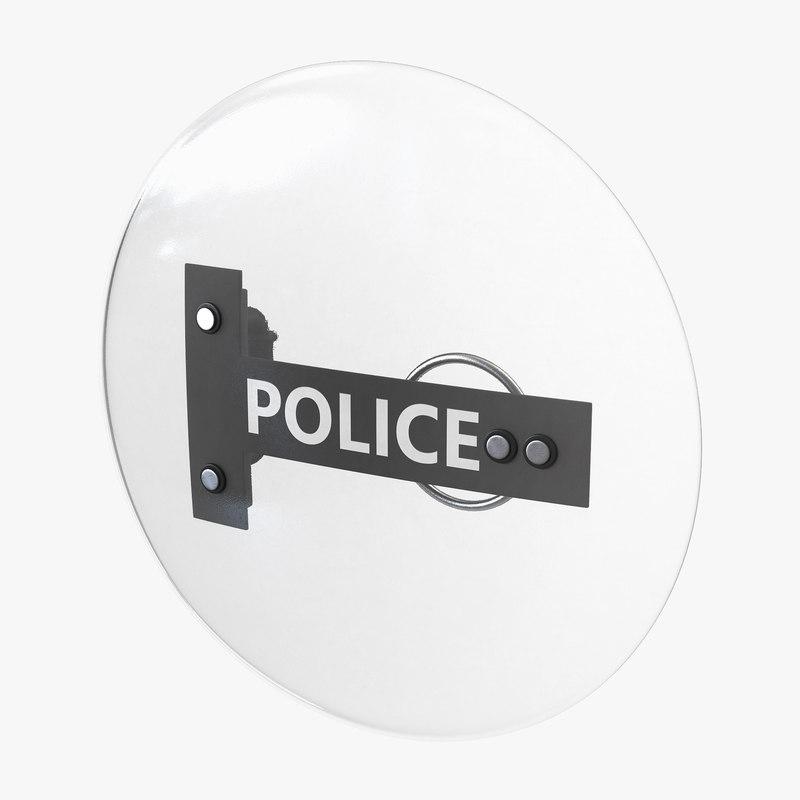 police anti riot shield c4d