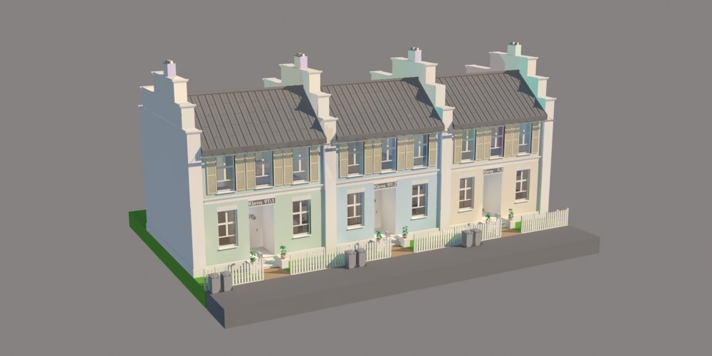 townhouse house 3d max
