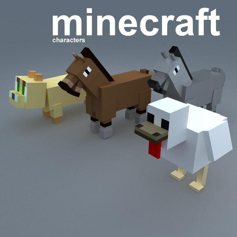3d minecraft animal cartoon model
