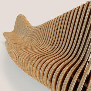 3d parametric bench wave model