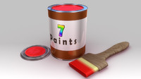 paint tin brush obj