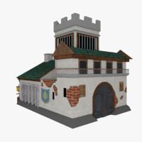 medieval building 3d c4d